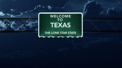 Texas USA State Welcome to Highway Road Sign at Night