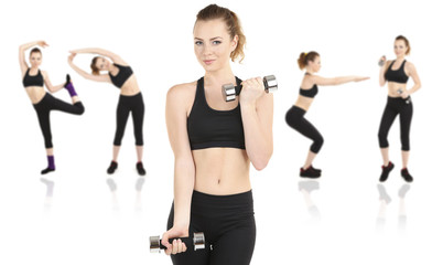 Young woman doing fitness exercises isolated