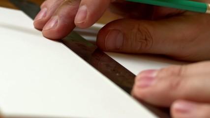 Man draw drawing tools.