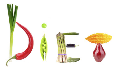 Word Diet made of fruits and vegetables isolated on white