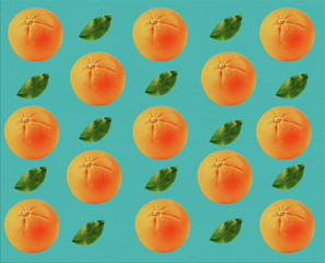 Tropical background with oranges and green leaves
