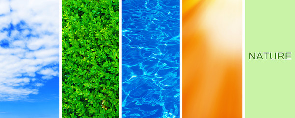 Water, plant, sky and sun in collage, nature components concept