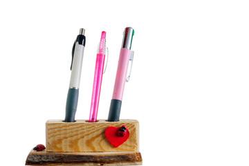 Portapenne in legno fatto a mano, artigianato