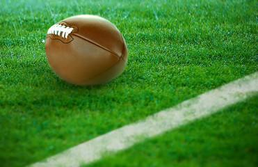 American football on green grass