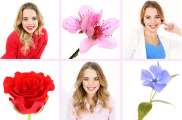 Beautiful women and flowers collage