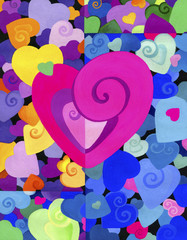 Painted decorative heart on the background of many colors hearts