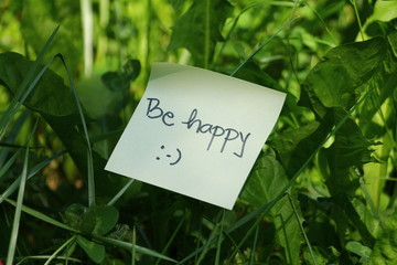 Motivation message Be happy in green grass