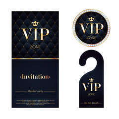 VIP invitation card, warning hanger and badge.