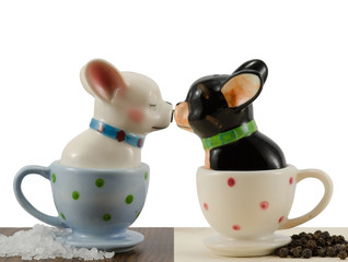Salt and pepper shakers french bulldog