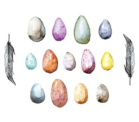 Happy Easter! Watercolor hand drawn Easter egg collection.