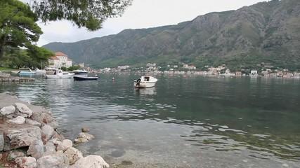Bay on Adriatic Sea. Kotorsky gulf, Montenegro