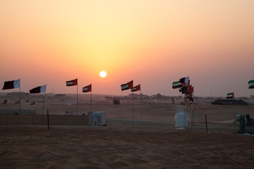 Sunset in the desert of Madinat Zayed, Abu Dhabi, UAE