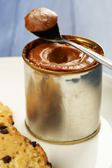 Can of boiled condensed milk with spoon and cookies in plate