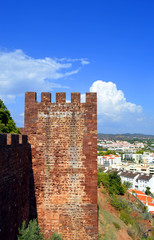 Silves castle tower in the Algarve, Portugal