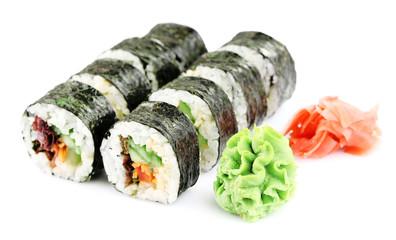 Vegetarian sushi rolls isolated on white