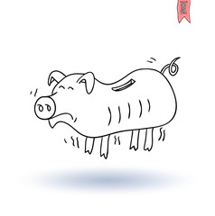 poor pig Money, hand drawn vector illustration
