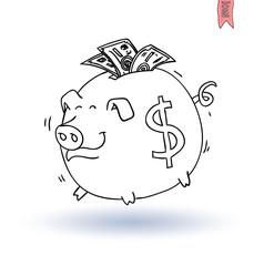 Fat pig Money, hand drawn vector illustration