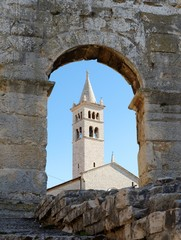 Bell tower of St Anthony Church in Pula, Croatia