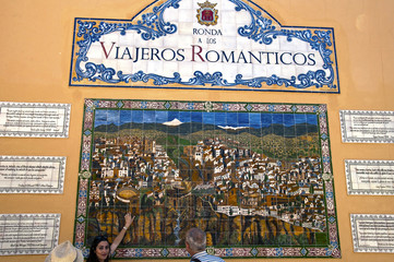Ronda, Spain - May 6, 2014. wall - map in the city of Ronda and
