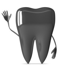 Metallic tooth waving hand