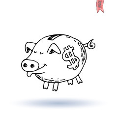 Fat pig Money, hand drawn vector illustration