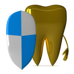 Golden tooth with shield