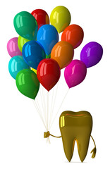 Golden tooth with balloons