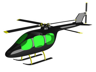 Toy black helicopter isolated