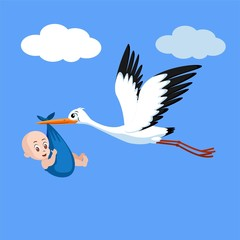 Baby and Stork