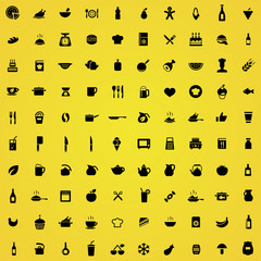 100 cooking icons.
