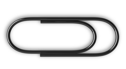Black paper clip isolated