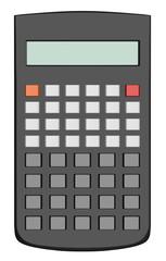 Black scientific calculator isolated