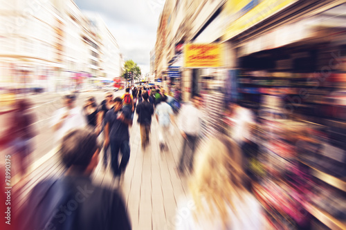 canvas print picture People shopping and walking in London Oxford street