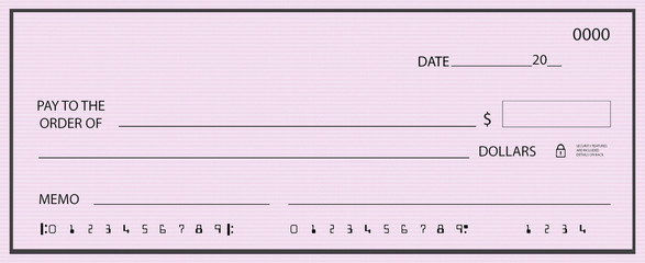 Blank pink check