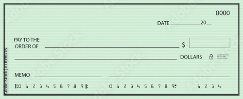 Blank check with green pattern background - 78991716