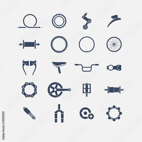bicycle parts icons - 78992139
