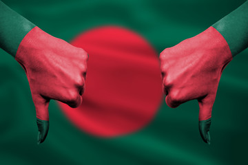 failure of Bangladesh - hands gesturing thumbs down in front of