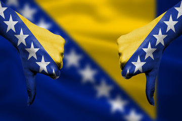 failure of Bosnia and Herzegovina - hands gesturing thumbs down