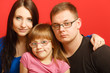 cute family of three face portrait