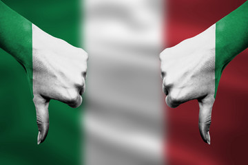 failure of Italy - hands gesturing thumbs down in front of flag