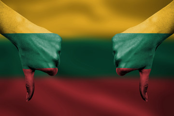 failure of Lithuania - hands gesturing thumbs down in front of f
