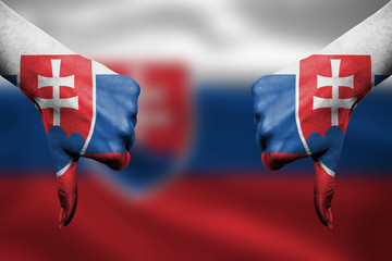 failure of Slovakia - hands gesturing thumbs down in front of fl