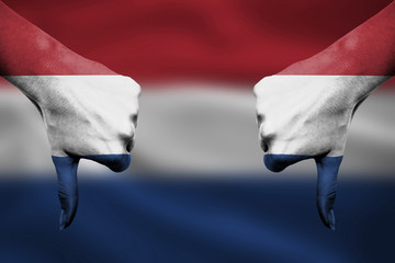 failure of The Netherlands - hands gesturing thumbs down in fron