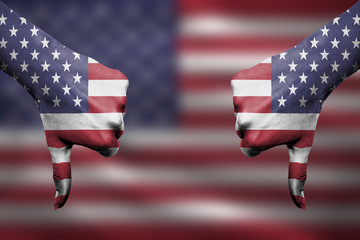 failure of United States of America - hands gesturing thumbs dow