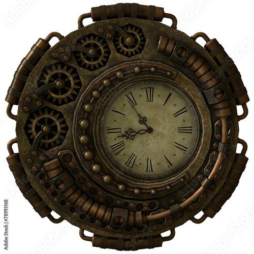 Leinwanddruck Bild Steampunk Clock, 3d CG
