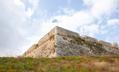 Greek Flag at the Venetian Fortezza or Citadel in Rethymno, Cret