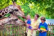 Family feeding giraffe in a zoo