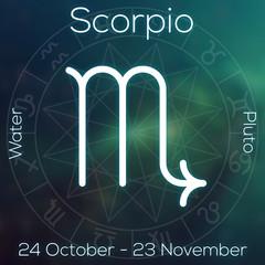 Zodiac sign - Scorpio. White line astrological symbol