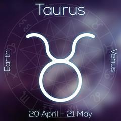 Zodiac sign - Taurus. White line astrological symbol