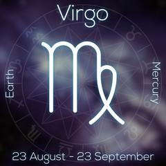 Zodiac sign - Virgo. White line astrological symbol with caption